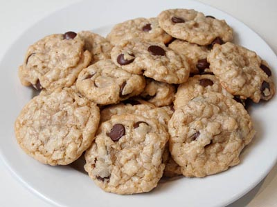 plate full of chocolate chip oatmeal cookies