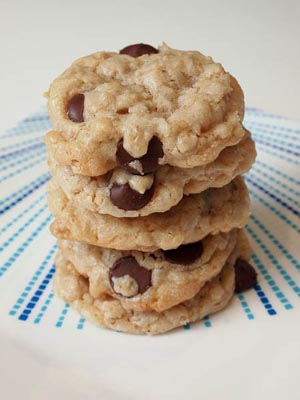 stack of chocolate chip oatmeal cookies